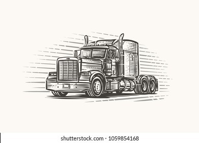 American Truck hand drawn illustration. Vector.