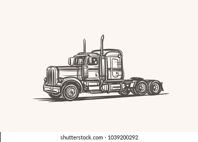 American Truck hand drawn sketch. Vector.
