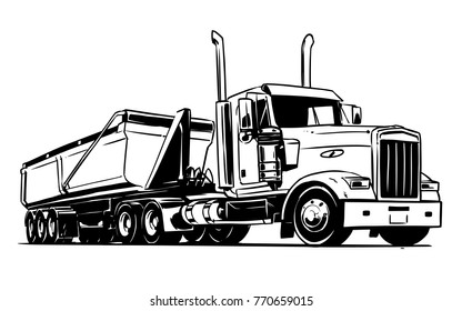 American truck with a semi dump trailer. Black and white illustration