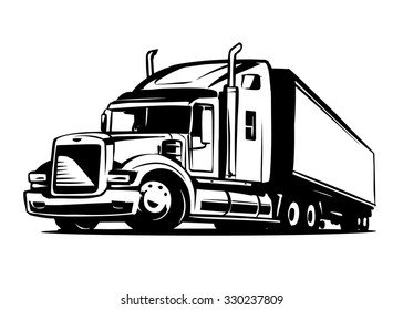 black semi truck images  stock photos   vectors shutterstock Semi Truck Coloring Pages Semi Truck Outline