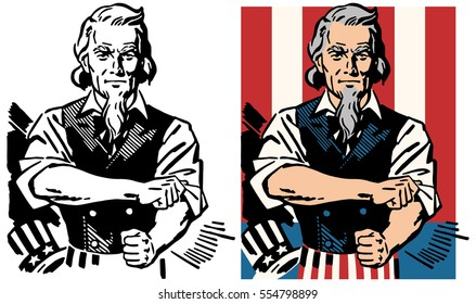 American Uncle Sam rolling up his sleeves