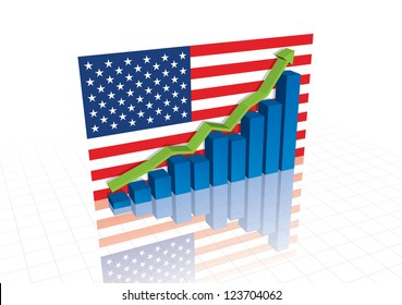 American (US) dollar, and stocks trade up economic recovery vector graph