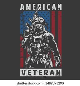 american veteran army illustration vector