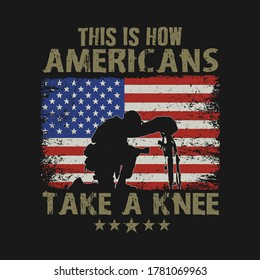 american veteran take a knee for the fallen illustration vector graphic