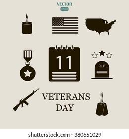american veterans day icons set