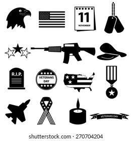 american veterans day in USA military celebration icons set eps10