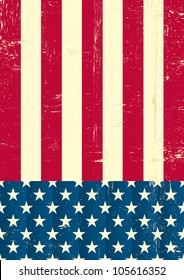 American vintage flag. An american grunge flag for a background of a poster.