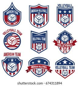 American volleyball team labels. Design elements for logo, emblem, sign, badge. Vector illustration