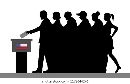 American voters crowd silhouette by voting for election in USA. All the silhouette objects, and background are in different layers.