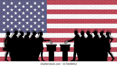 American voters crowd silhouette in election with USA flag graffiti in front of brick wall. All the silhouette objects, icons and background are in different layers.