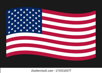 American Wave Flag vector, american flag isolated on a black background
