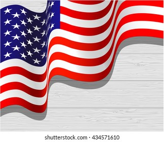 American waving flag on light wood background for independence day, vector illustration.