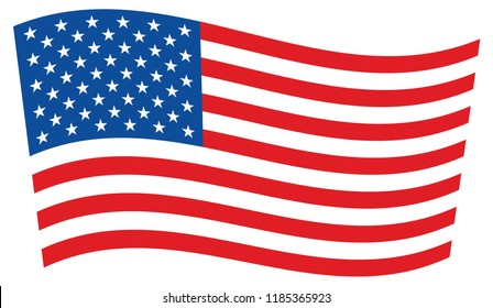American Waving flag on white background