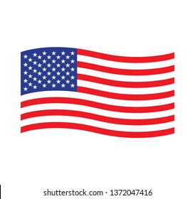 American waving flag vector icon. National symbol, red, white and blue with stars