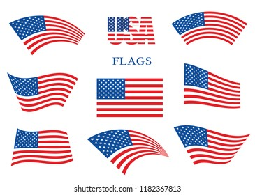 American waving flags set Vector USA flag on White background Eps10