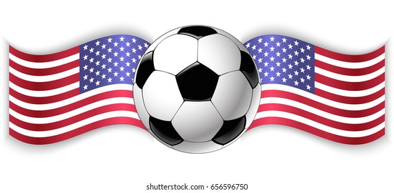 American and American wavy flags with football ball. United States of America combined with United States of America isolated on white. Football match or international sport competition concept.