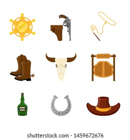 American western flat vector illustrations set. Sheriff badge, revolver and whip. Classic wild west symbols pack. Boots with spurs, skull, saloon doors. Old texas attributes. Whiskey and cowboy hat