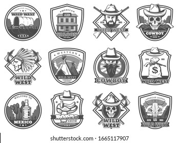 American Western icons, rodeo show and cowboy saloon, Texas bandit and robber stagecoach. Vector Wild West signs of sheriff star, and Indian chief and horse saddle, lasso and longhorn bull skull