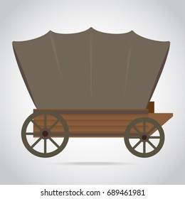American western wood wagon icon