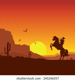 American wild west desert with cowboy on horse.Vector sunset landscape