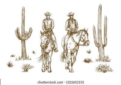 American wild west desert with cowboys, hand drawn illustration