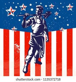 American worker patriotic poster design. Vintage American flag background