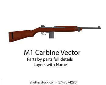American WW2 carbine gun | WW2 Rifles |  vector parts by parts with layers name. best for animation such as firing, reloading etc.