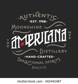 Americana Moonshine Distillery retro hand lettered design. Vintage Americana Style. Hand Drawn Custom Type. Old School Flavor. Great as logo, for t shirt fashion prints tee graphics wall art decor etc