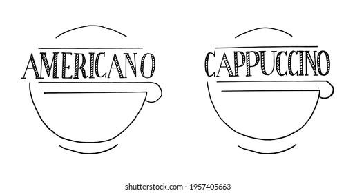 Americano cappucino coffee lettering vector
