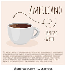 Americano coffee. Cup of fresh coffee. Vector illustration. Flat style. Design for cafeteria, poster, banner, card.