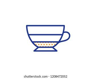 Americano coffee icon. Hot drink sign. Beverage symbol. Colorful outline concept. Blue and orange thin line color icon. Americano Vector