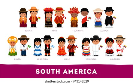 Americans in national clothes. South America. Set of cartoon characters in traditional costume. Cute people. Vector flat illustrations.