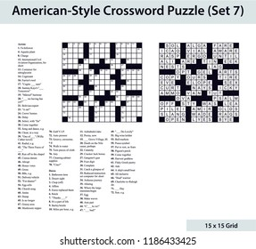 American-style crossword puzzle with a 15 x 15 grid. Includes blank crossword grid, clues, and solution.