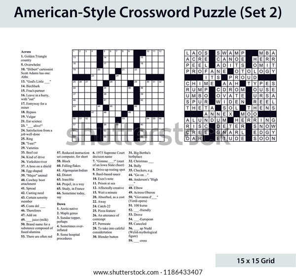 Americanstyle Crossword Puzzle 15 X 15 Stock Vector (Royalty Free