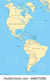The Americas, North and South America, political map with countries and international borders of two continents. New World and western hemisphere. The Caribbean. Illustration. English labeling. Vector
