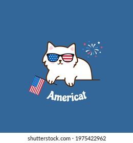 Americat. Funny greeting card design. American cat. 4th of July. Vector