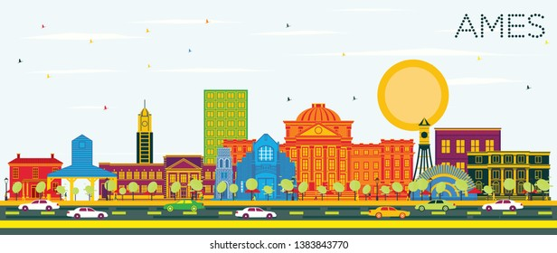 Ames Iowa City Skyline with Color Buildings and Blue Sky. Vector Illustration. Business Travel and Tourism Illustration with Historic Architecture. Ames Cityscape with Landmarks.
