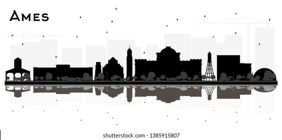 Ames Iowa skyline black and white silhouette with Reflections. Vector illustration. Simple flat concept for tourism presentation, banner or web site. Business travel concept. Cityscape with landmarks.