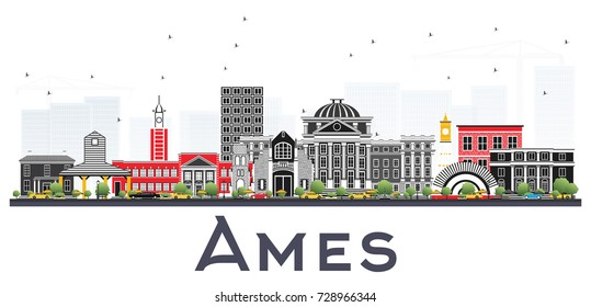 Ames Iowa Skyline with Color Buildings Isolated on White Background. Vector Illustration. Business Travel and Tourism Illustration with Historic Architecture.
