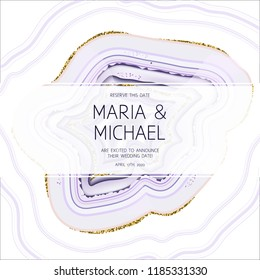 Amethyst crystal geode purple horizontal vector card.Stylish ultraviolet texture frame.Gold border.Sparkling gems.Natural stone.Trendy wedding invitation.All elements are isolated and editable.