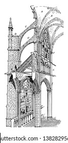 Amiens Cathedral, cross section of Gothic cathedral, Gothic architecture, vintage line drawing or engraving illustration.