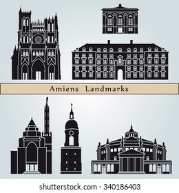 Amiens landmarks and monuments isolated on blue background in editable vector file