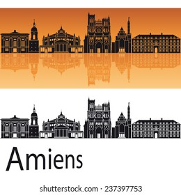 Amiens skyline in orange background in editable vector file