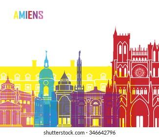 Amiens skyline pop in editable vector file