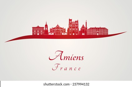 Amiens skyline in red and gray background in editable vector file
