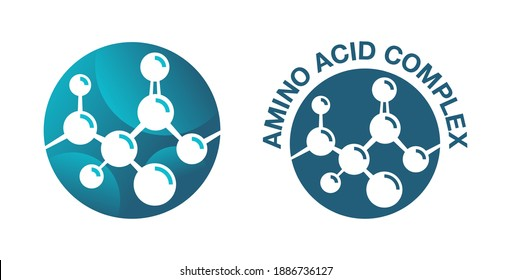 Amino acid complex icon - organic compounds monomers that make up proteins and used in food industry, condiment, bodybuilding supplement, animal feed. Vector illustration