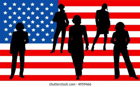 amirican flag with businesswomen