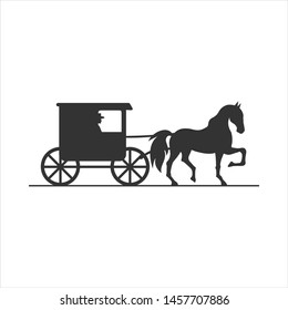 Amish buggy silhouette logo template