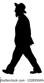Amish man in suite vector silhouette illustration. Jewish business man. Tourist man traveler walking with hat vector silhouette isolated on white. Diamond merchant. Jeweler buyer, trader from Israel.