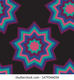 Amish Quilt jewel stars vector seamless pattern.  Striking layered geometric shapes on a black background similar to Amish quilt patterns.